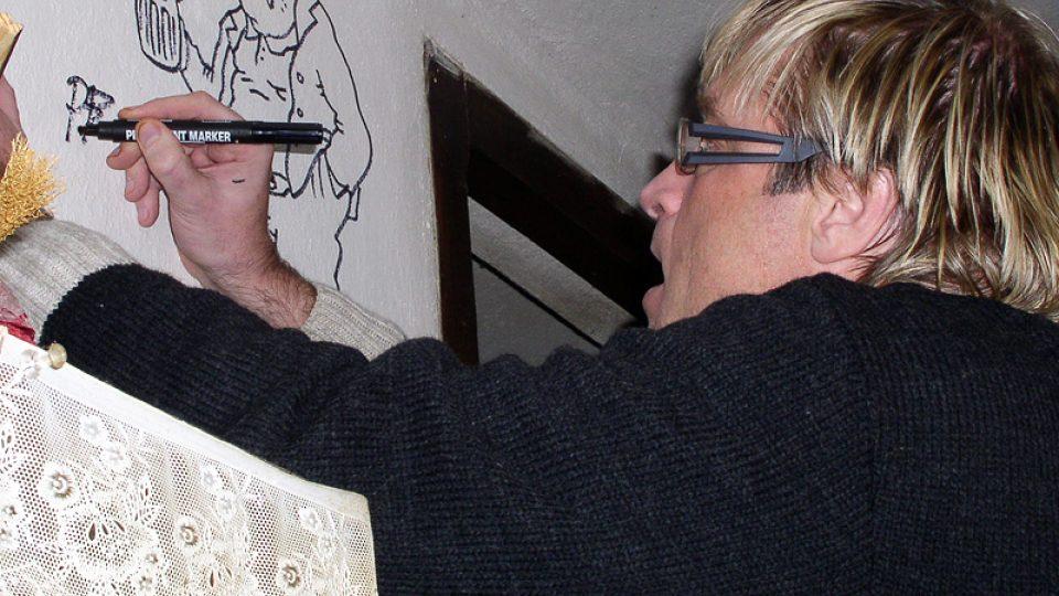 Po natáčení se na zdi Nostalgické myši zrodil obrázek Rudy Pivrnce
