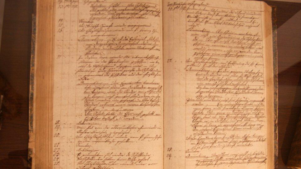 Podbrdské muzeum v Rožmitále pod Třemšínem - školní deník rožmitálské farní školy vedený od r. 1788, psaný německy kurentním písmem
