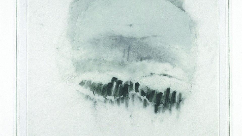 Adriena Šimotová: Zavřené oči III., 2000, grafit, pigment, vrstvený pauzovací papír, čínský papír, 95,5 x 80 cm (soukromá sbírka)