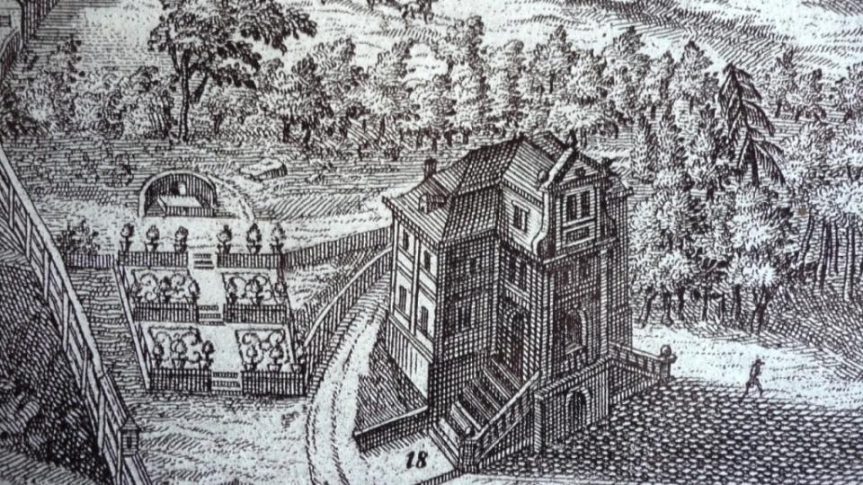 Filozofický dům - detail z Wortmannovy rytiny Kukských lázní
