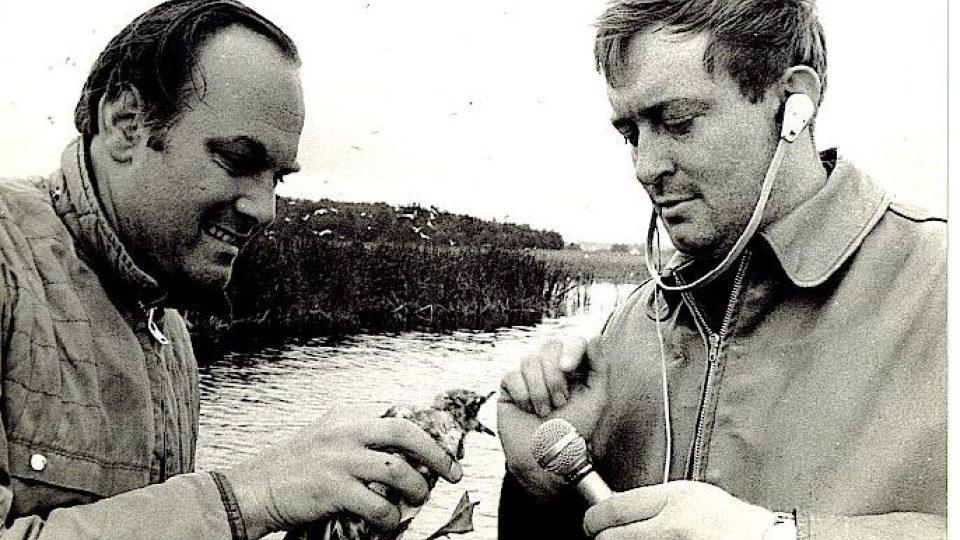 Oldřich Unger (vpravo) s Jefferym Boswallem z BBC v rezervaci Velký a Malý Tisý na Moravě s mládětem racka chechtavého (červen 1967). Dokument z největší rozhlasové expedice (Meteoru) po přírodních rezervacích v Československu. Trvala od 28. května do 22.