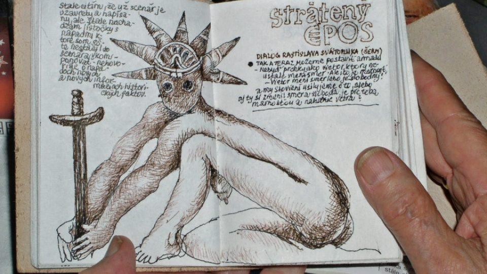 Diář Juraje Jakubiska s ilustrací k jeho chystanému filmu Strátený epos (The Last Epic)
