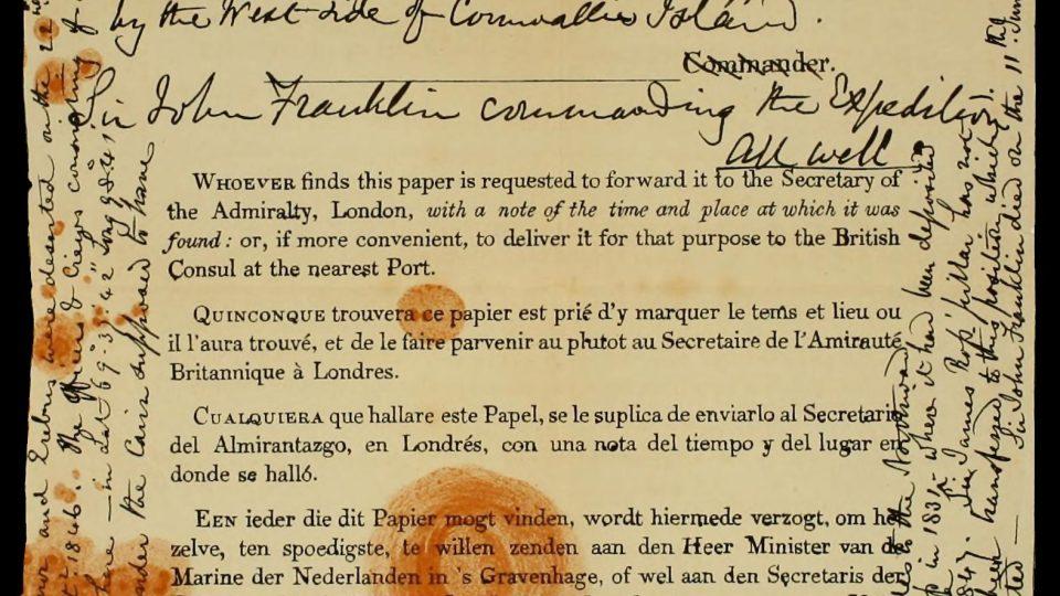 Jedna z nalezených zpráv o osudu Franklinovy expedice