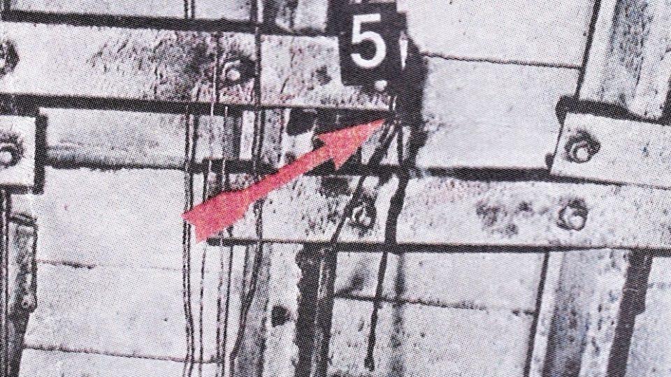 Detail upevnění provazu, na kterém se oběsil vrah