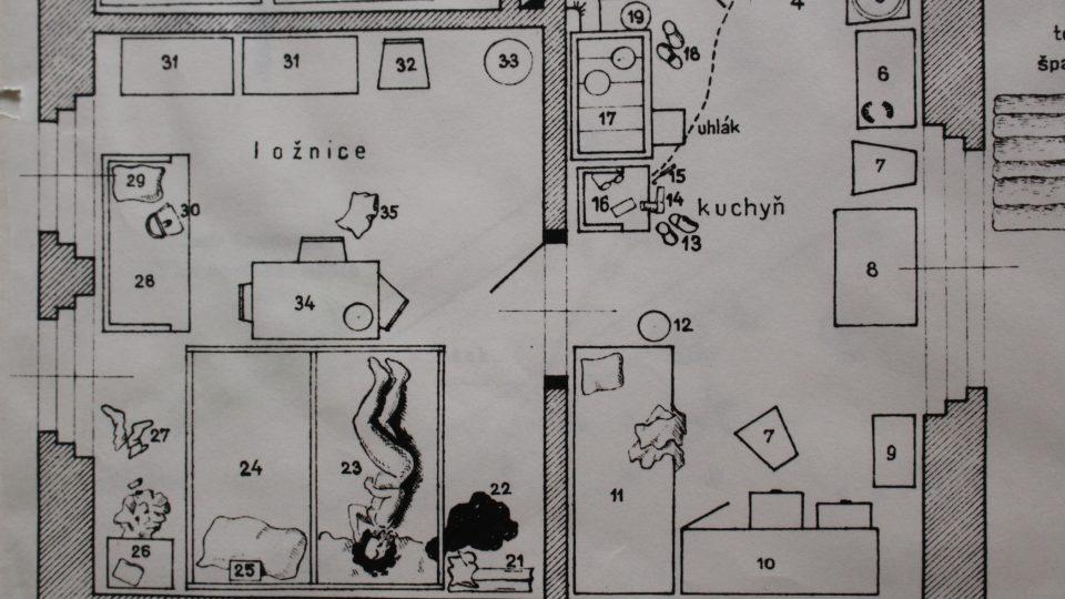 Plánek domku, kde se Václav Mrázek dopustil poslední vraždy