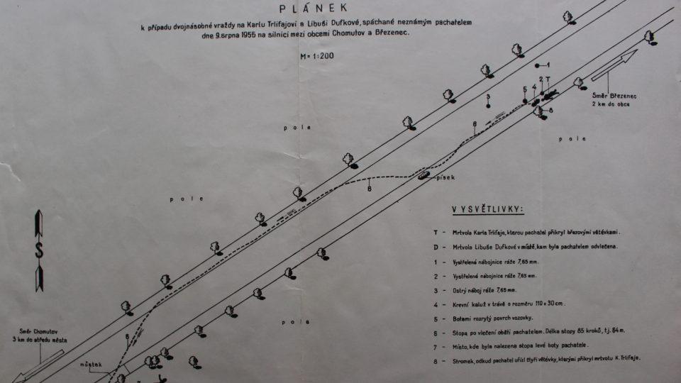 Plánek místa činu dvojnásobné vraždy Karla Trlifaje a Libuše Dufkové