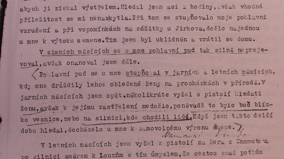 Z protokolu Václava Mrázka