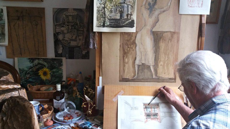 Vladimír Kolařík ve volných chvílích maluje