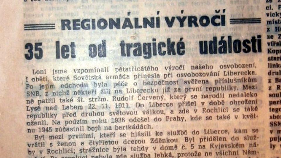 Článek deník Vpřed k 35. výročí tragické smrti strážmistra Červeného. Informuje i o tom, že právě jeho jménem byla pojmenována původní ulice Mazurská, kde bydlel