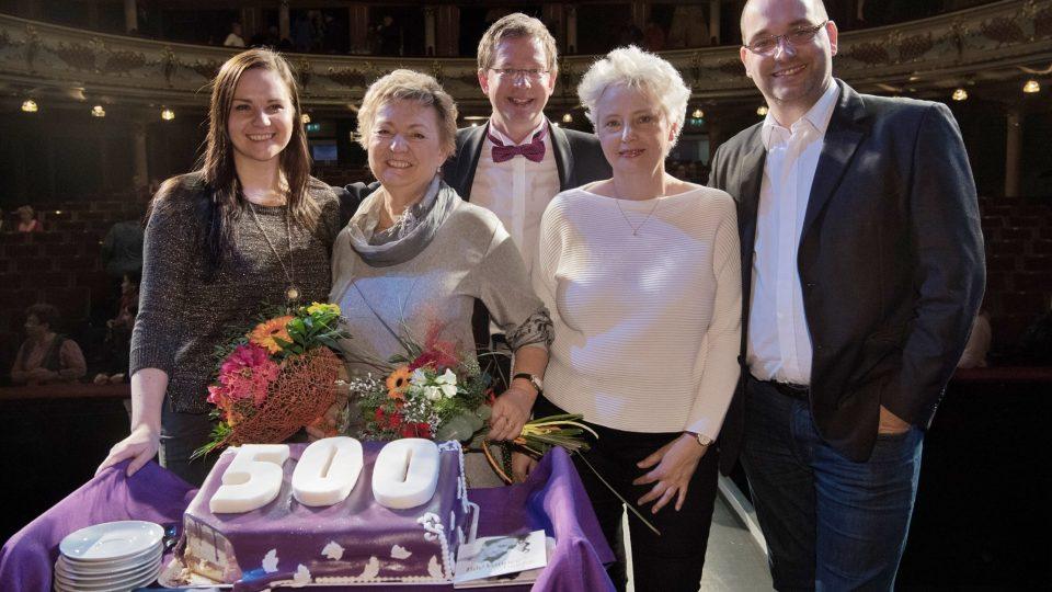 Tobogan500 Aleše Cibulky. Na fotografii zleva: Kateřina Coufalová, Helena Dubničová, Aleš Cibulka, Yvona Žertová a Jakub Hritz