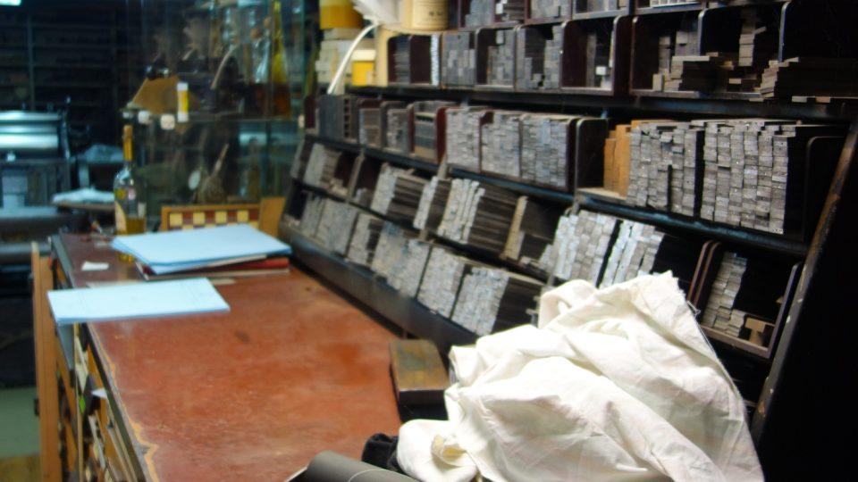 pohled do tiskařské dílny Lubomíra Krupky