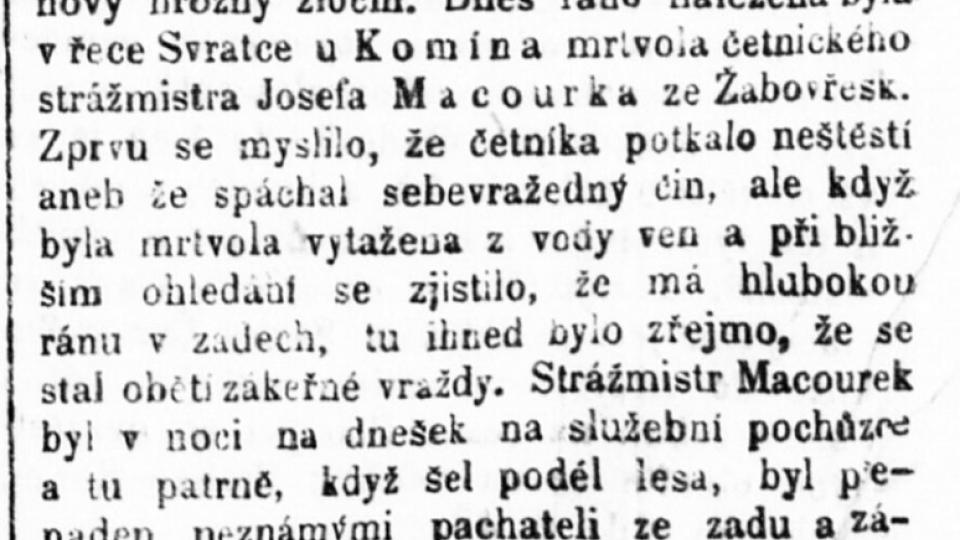 Dobový tisk z 24. října 1918 o vraždě četníka Macourka