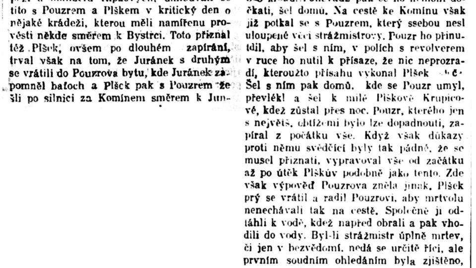 Dobový tisk z 15. června 1919 o vraždě četníka Macourka