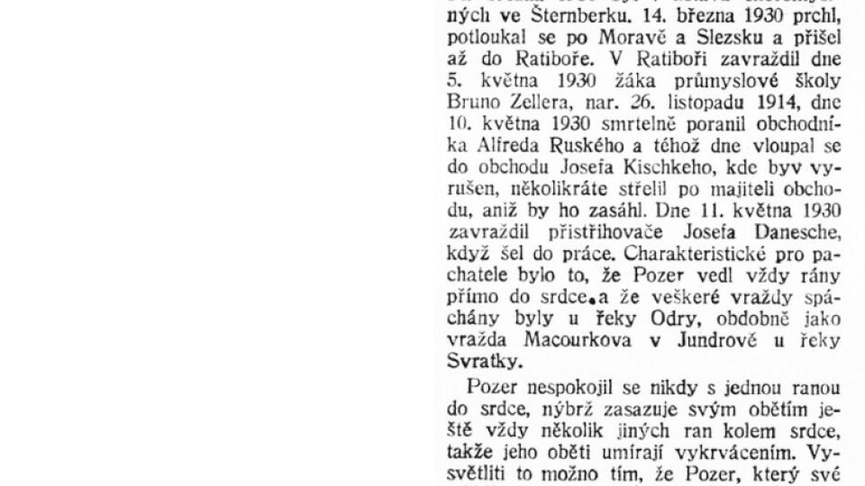 Dobový tisk z 25. května 1930 o vrahovi četníka Macourka