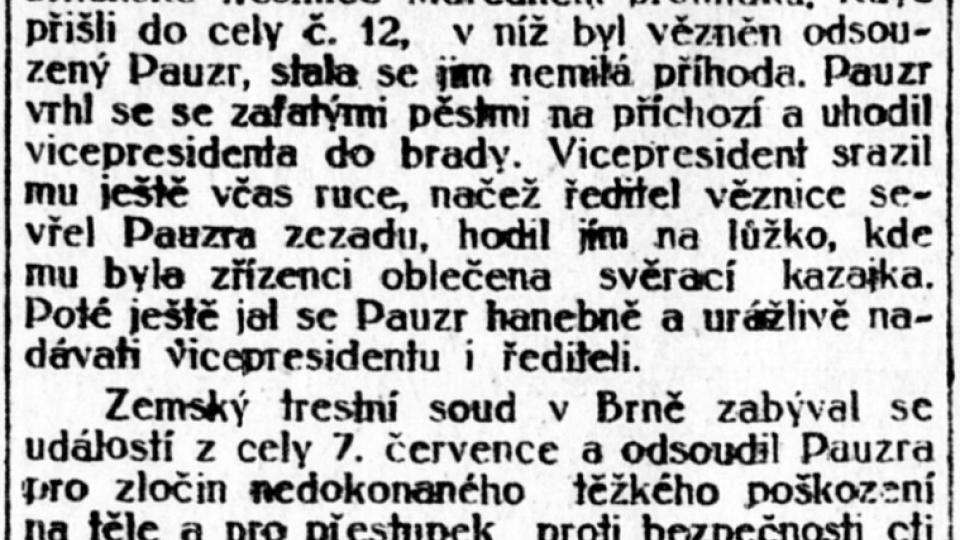 Lidové noviny z 25. srpna 1922 o soudu s vrahem četníka