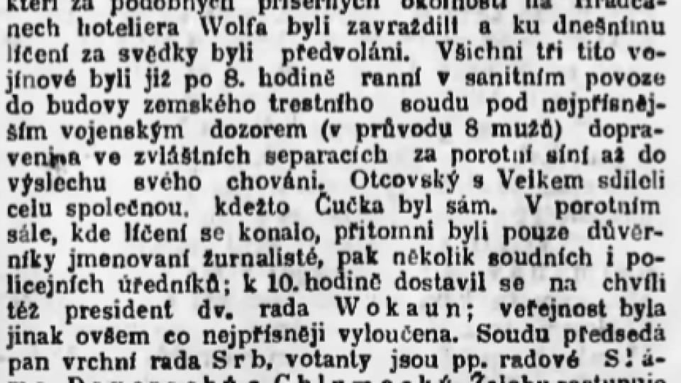 Národní listy 23. 1. 1903 – zahájeno trestní líčení