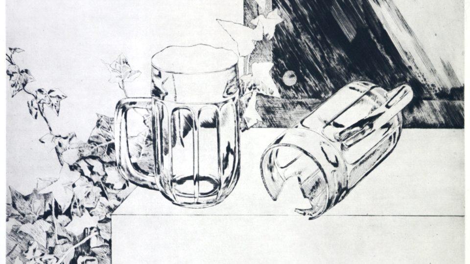 Naděžda Plíšková: Návrh na pomník Karla Nepraše, suchá jehla, 64x50 cm, 1979