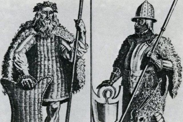 Germánští obyvatelé Čech,  Markoman a Kvád,  podle představ ilustrátora jedné z knih Gelasia Dobnera z konce 18. století | foto: Wikimedia Commons