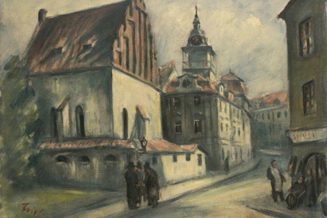 Bedřich Feigl: Staronová synagoga II,  kolem 1934,  olej na plátně,  605 x 805 | foto: © Židovské muzeum v Praze