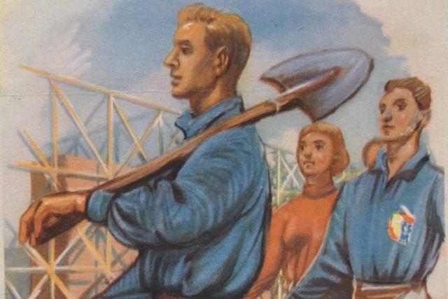 Budovatelský plakát Vybudujeme Ostravsko! (výřez)
