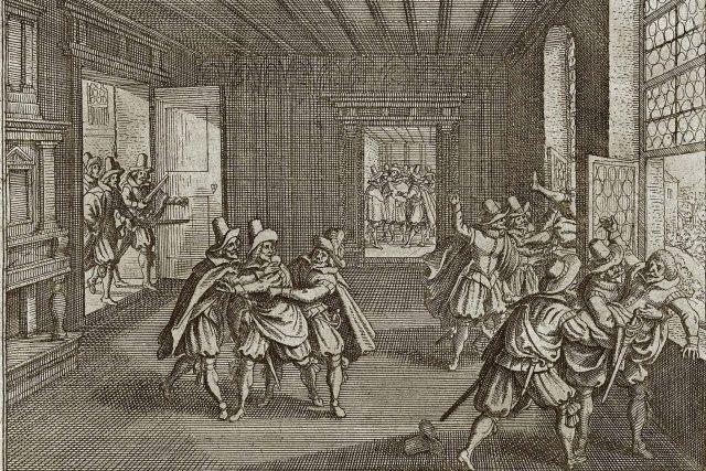 Druhá defenestrace na dobové mědirytině od Matthäuse Meriana st. | foto: Wikimedia Commons