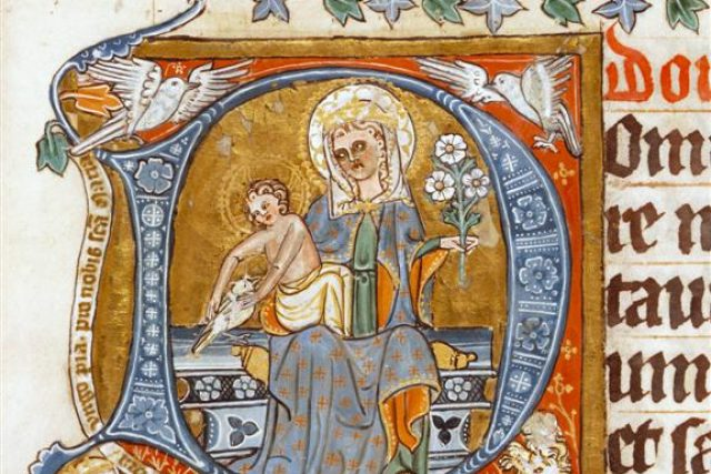 Výstava Královský sňatek,  Trůnící Madona,  adorovaná královnou Eliškou Rejčkou a zakomponovaná do iniciály D. Žaltář královny Elišky Rejčky,  2. desetiletí 14. století | foto: Benediktinské opatství Rajhrad