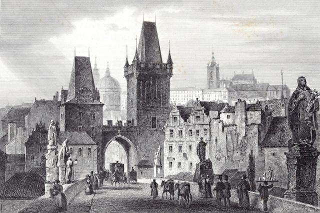 Karlův most. Dobová rytina. | foto: Archiv Muzea Vysočiny,  Havl. Brod