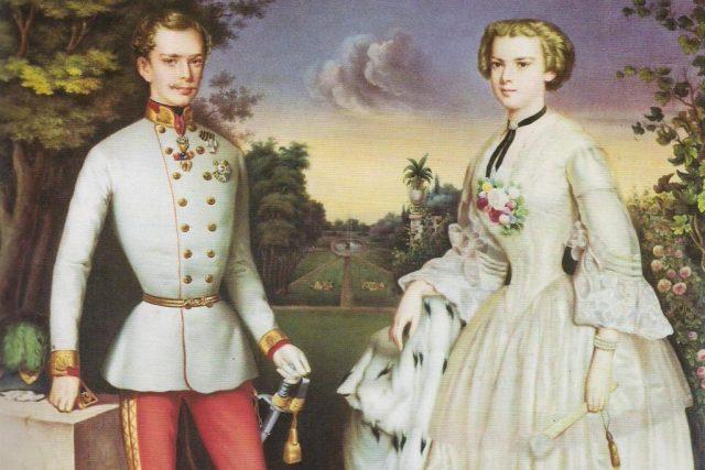 František Josef I. a Sissi,  miniatura na porcelánu  (Hofburg,  Vídeň)   foto: Wikipedia,  public domain - volné dílo,   autor neznámý 2