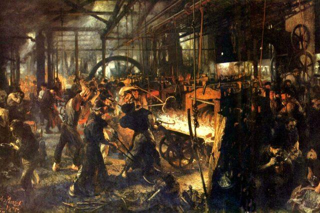 Moderní válcovna  (Adolf Friedrich Erdmann von Menzel,  olejomalba z roku 1872)   foto:  Alte Nationalgalerie Berlin,  The Yorck Project: 10.000 Meisterwerke der Malerei