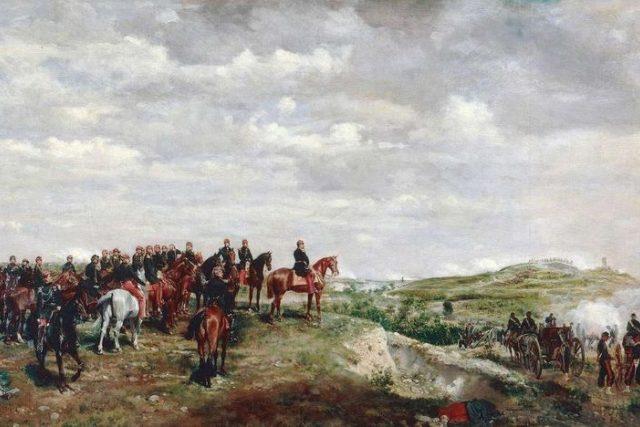 Napoleon III. v bitvě u Solferina,  olej na plátně,  Jan-Louis Ernest Meissouier,  1863   foto: Wikipedia,  public domain - volné dílo