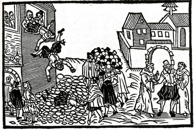 Pražská defenestrace v roce 1618,  holanský soudobý leták. | foto: Wikipedia,  public domain - volné dílo
