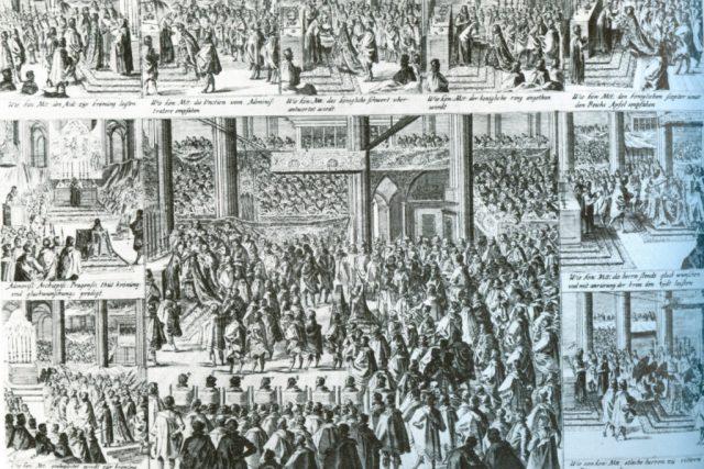 Korunovace Fridricha Falckého   foto: Wikipedia,  public domain - volné dílo,  Wolfenbüttel,  Herzog-August-Bibliothek
