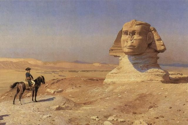 Napoleon před sfingou na obraze Jeana Leona Geroma | foto: Wikimedia,  public domain
