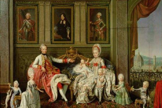 Františkův otec Leopold s rodinou na obraze W. Werlina | foto: Wikimedia Commons,  lic. Public domain