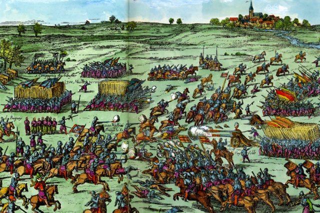 Výjev z bitvy u Záblatí z roku 1630. Jedna z prvních bitev české fáze třicetileté války se udála 10. června 1619.   foto: Wikipedia,  public domain - volné dílo,  Abraham Hogenberg