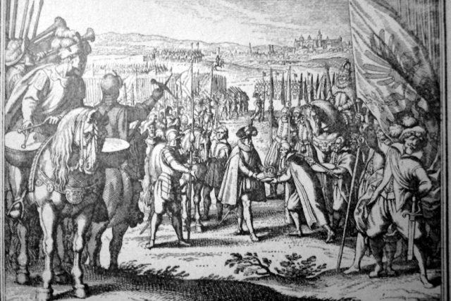 Rudolf II. a Matyáš uzavírají v roce 1608 Libeňský mír.