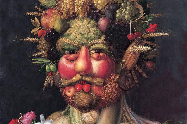 Rudolf II. zpodobněný jako Vertumnus,  římský bůh ročních období  (1591–2,  Giuseppe Arcimboldo).   foto: Wikipedia,  public domain - volné dílo