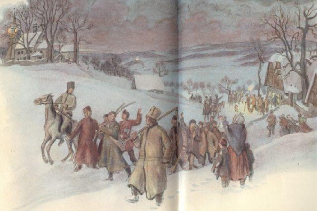 Pohled na kostel a na rtyňskou rychtu - ilustrace Václava Fialy z knihy Aloise Jiráska Skaláci