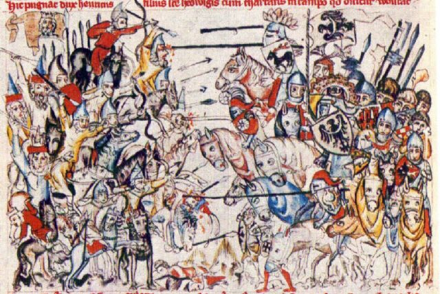 Dobové vyobrazení bitvy u Lehnice  (uživatel Belissarius) | foto: Wikipedia,  public domain - volné dílo