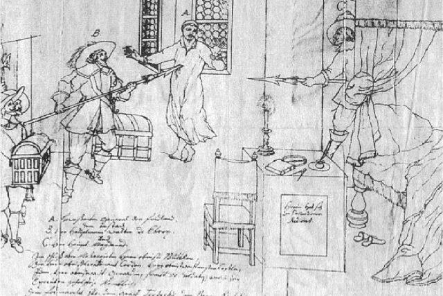 Zavraždění Albrechta z Valdštejna v Chebu,  dobová kresba ze 17. století | foto: Wikipedia,  public domain - volné dílo