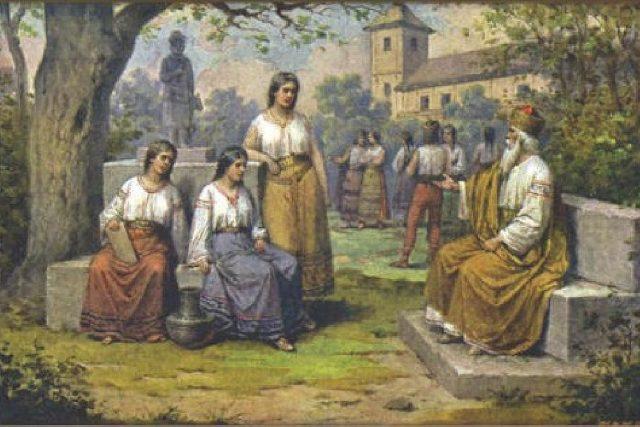 Kníže Krok s dcerami. Obraz Josefa Mathausera