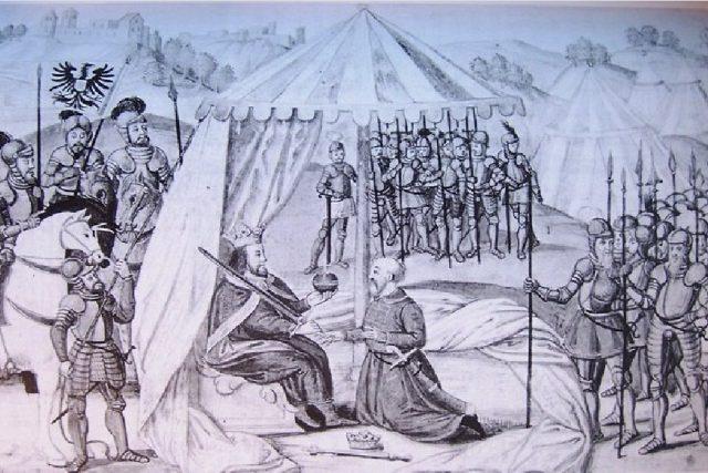 Přemysl Otakar II. skládá hold Rudolfovi I. Habsburskému | foto: licence Public Domain,  volné dílo,  Acoma,  Wikimedia Commons