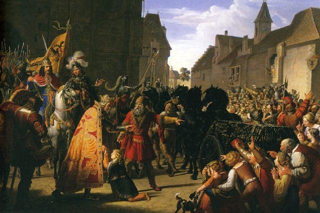 Anton Petter: Syn Přemysla Otakara II,  Václav,  na kolenou před Rudolfem I. Habsburským | foto: Wikipedia,  public domain - volné dílo