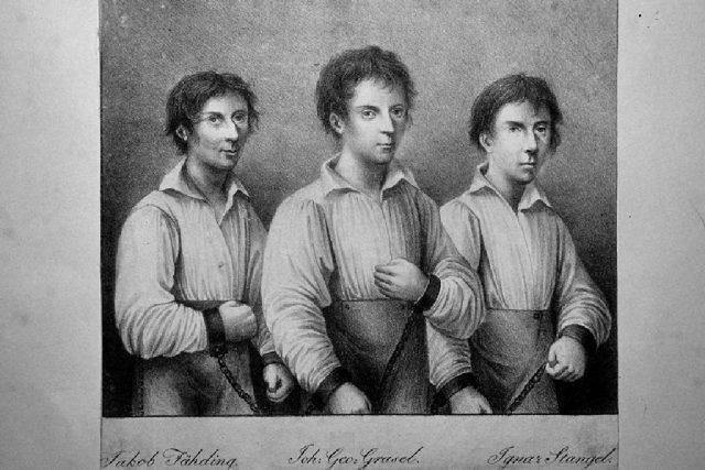 Johann Grasel a jeho kumpáni na litografii Adolpha Friedricha Kunikeho