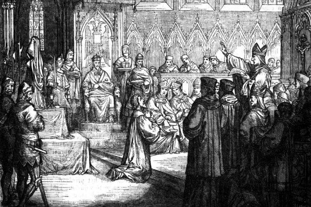 Jan Hus před kostnickým koncilem | foto: Kniha Vypsání husitské války  (vydáno 1868,  ilustrace Petr Maixner)