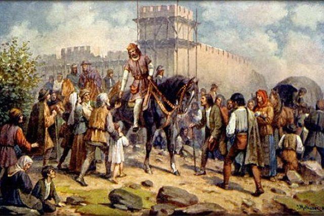 Josef Mathause: Karel IV. nechává stavět Hladovou zeď | foto: Wikipedia,  public domain - volné dílo