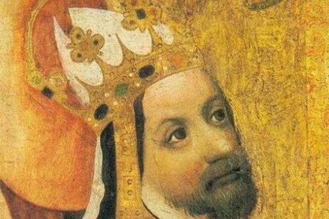 Detail z Votivního obrazu Jana Očka z Vlašimi,  kolem r. 1371 | foto: Wikipedia,  public domain - volné dílo