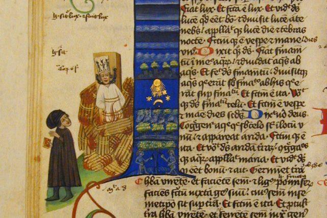 Upálení mistra Jana Husa v Martinické bibli,  1430. Vlevo magistr s knihou. Pravděpodobně se jedná o Petra z Mladoňovic,  objednavatele rukopisu. | foto: Wikipedia,  public domain - volné dílo