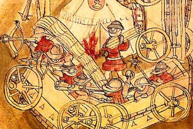 Dobové vyobrazení husitské vozové hradby