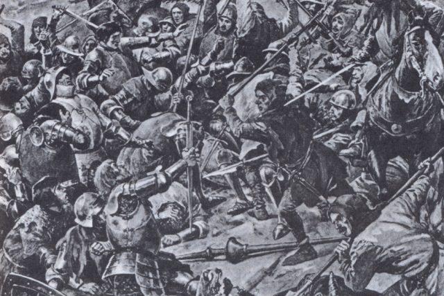 Věnceslav Černý: Bitva husitů s německým vojskem 16. června 1426 na návrší jménem Na Běhání nedaleko Ústí nad Labem | foto: Wikipedia,  public domain - volné dílo